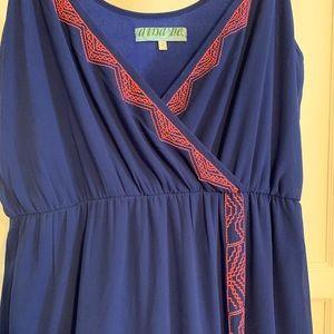 Blue Drea with coral thread design